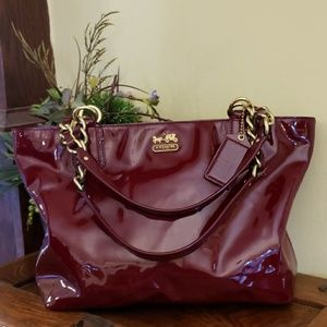 Authentic Coach Madison patent leather tote